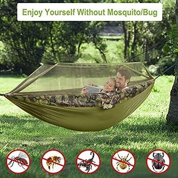 N \ A Grand hamac de Camping Double avec moustiquaire, hamacs en Nylon Portables pour 2 Personnes ou 700LBS, Survie et Voyage de randonnée en Plein air, 300 * 200 cm