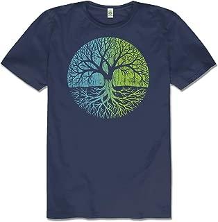 Soul Flower Men's Tree of Life Hemp Short Sleeve T-Shirt - Navy Blue Crew Neck Tee for Men and Women
