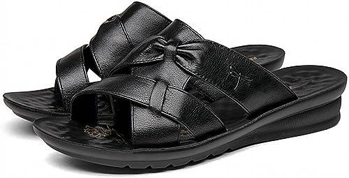 DIDIDD Confortable Décontracté Fond Mou Dames Chaussures de Plage Couleur Unie Simple Véritable Pantoufles,Une,36