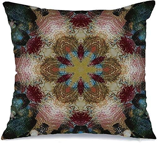Throw Pillow Cover Funda de cojín, Azul Acuarela gráfica fantasía Paleta Grunge para Estilo Aceite Rojo Spray Forma Color Mezclado Funda de Almohada Abstracta