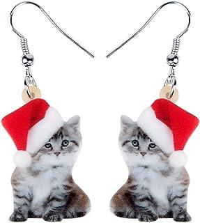 Bonsny Acrylic Drop Dangle Christmas Sweet Cat Kitten Earrings Pets Jewelry For Women Kids Teens Gift