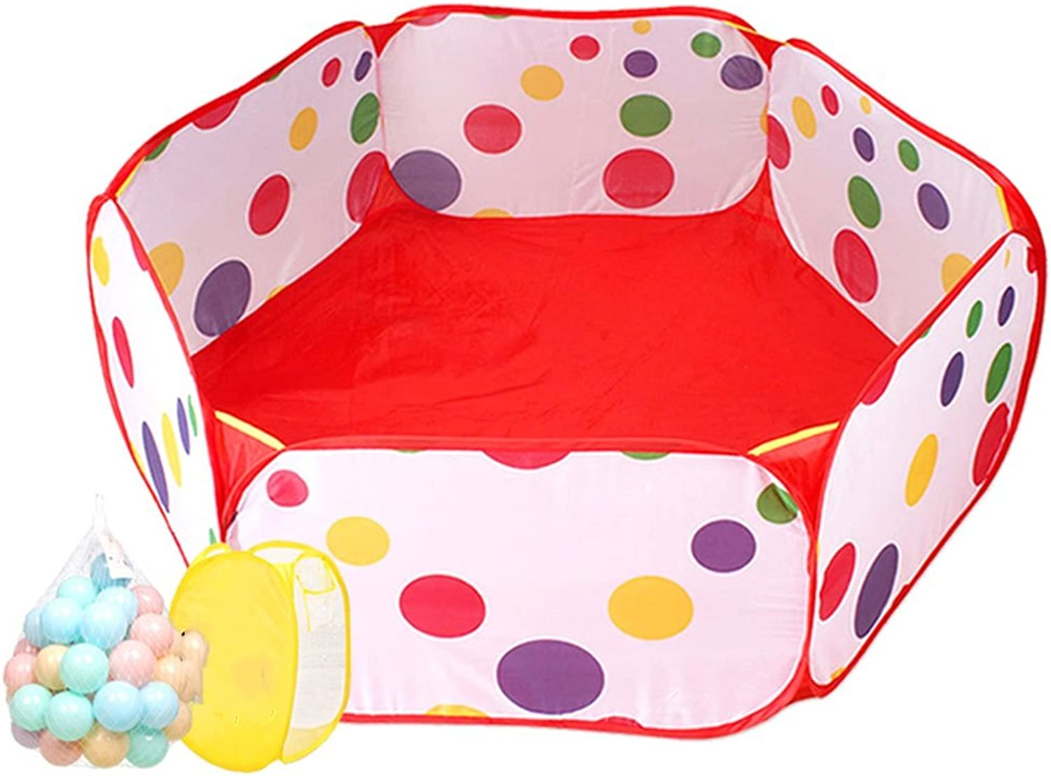 Portable Playpen Toddler Play Tent Sea Ball Pool, Indoor Outdoor Baby Safety Play Center Yard, Red Ball Pit (Size   50 Balls)