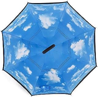 Rain Umbrellas عكس مظلة قابلة للطي مظلة ذاتية الأمد مظلة طويلة جنبا إلى جنب مع التجوية سهلة c- نوع اليد طارد المياه الانته...