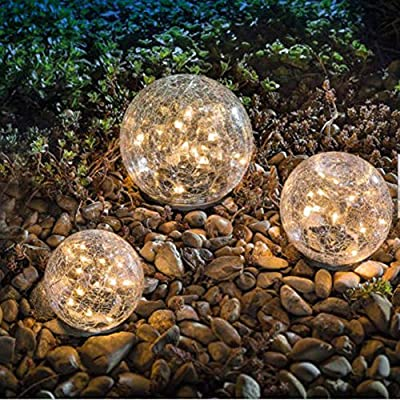 """Garden Solar Lights, Cracked Glass Ball Waterproof Warm White LED for Outdoor Pathway Walkway Patio Yard Lawn, 1 Globe (4.72"""")"""