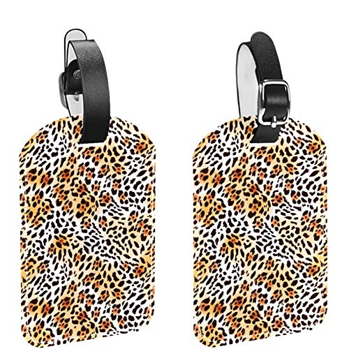Luggage Tags, Leather Personalized Luggage Tag Set Luggage id Tags Travel Accessories-Set of 2 Yellow Leopard Print