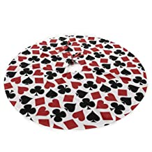 LALABULU Christmas Tree Skirt 35.5 Inches Xmas Tree Skirt Playing Card Suit Casino Pattern-02 Christmas Decorations Indoor Outdoor