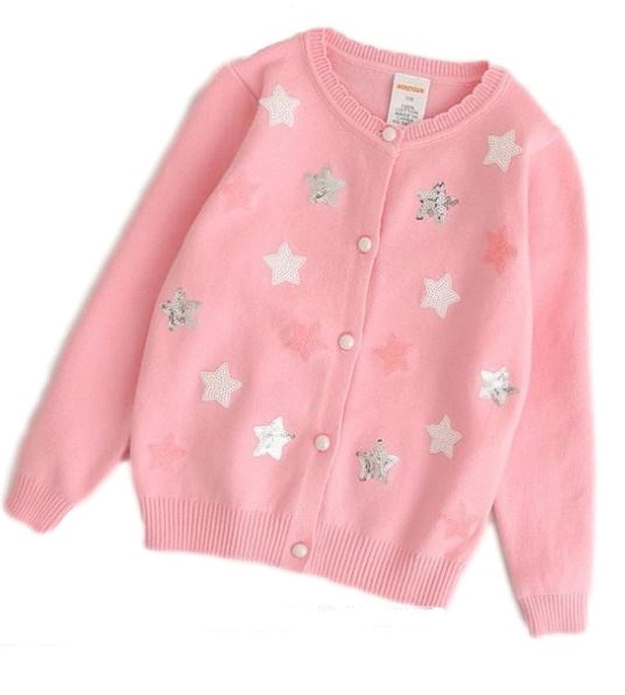 [Nana_Collection(ナナコレクション)] 春 可愛い キラキラ 星型 前ボタン 薄手 長袖 ニット カーディガン 上着 防寒 子供 キッズ 女の子 ピンク 110cm
