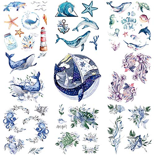 Oottati 9 Sheets Temporary Tattoo Blue Purple Sea Turtle Goldfish Dolphin Whale Shell Octopus Starfish Suit for Arm Neck