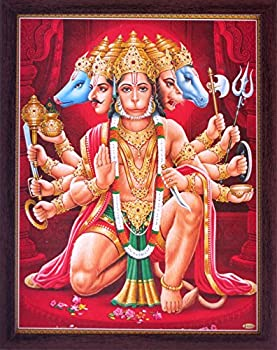 Hanuman Hindu Lord Panch Mukhi Giving Holy Blessings Blessing a Holy Hindu Religious Poster Painting with Frame for Worship Purpose