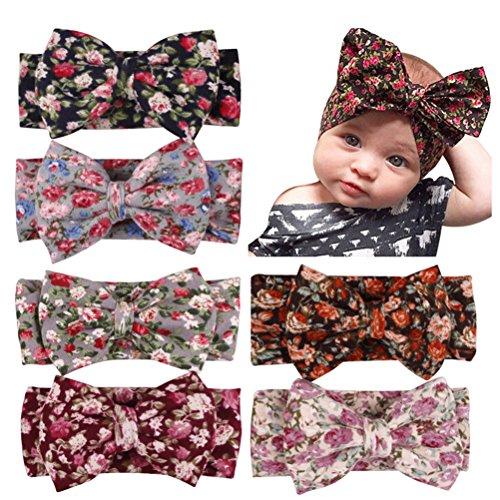 RUIYELE Diadema de lazo grande para bebé, 4 unidades, turbante anudado floral, conejo
