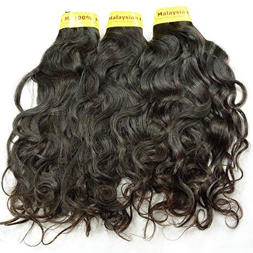 NOBLE QUEEN Hair 10A Malaysisches Haarverlängerung, natürliche Wellen, unbehandeltes Echthaar, 3 Bündel, italienisches gelocktes Haar, Tresse (55,9 / 56,9 / 61 cm)
