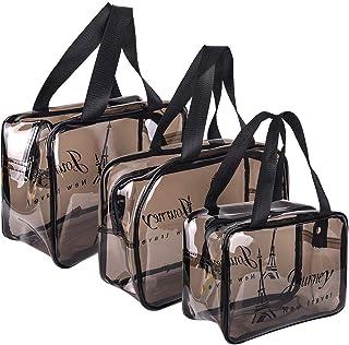 Premium Clear Makeup Organizer PVC Toiletry Bag Transparent Cosmetic Bag for Women Sturdy Zipper (3 Pcs S/M/L)