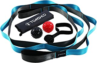 Elastic Stretching Strap with Loops, 2 Foot Massage Ball and Door Anchor 4 PCs Kit with Carry Bag Ideal for Home Gym Travels