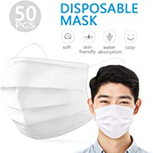 Decdeal 50pcs Disposable Face Mask Earloop Mouth Face Mask 3-Layer Masks Protective Respirator Non-woven Fabric against Droplet Dust Particles Pollution