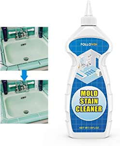 FOLLOWIN Mold and Mildew Bathroom Cleaner Gel 18oz, Household Stain Cleaner for Showers Tiles Grout Sealant Sinks