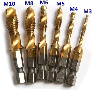 6 Pcs High Speed Steel HSS 4241 1/4 Inch Hex Shank Screw Thread Metric Tap Drill Bit M3/4/5/6/8/10 Combination Drill and Tap Set