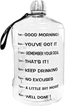 QuiFit 1 Gallon Water Bottle with Motivational Time Marker 128/73/43 oz Large Capacity BPA Free Reusable Sport Fitness Water Jug with Handle to Drink More Water