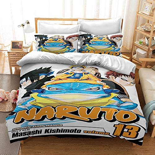 SSIN Bedding Sets for Children 3D Anime Bedding Duvet Cover Set 3 Pieces Microfibre Zip Duvet Cover Pillow Case Anime Cartoon Naruto Student Dorm Duvet Cover (A08, 200 x 200 cm)