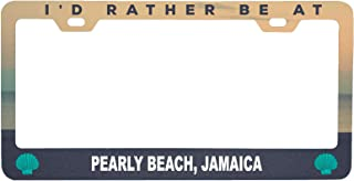 R and R Imports Pearly Beach Jamaica Sea Shell Design Souvenir Metal License Plate Frame