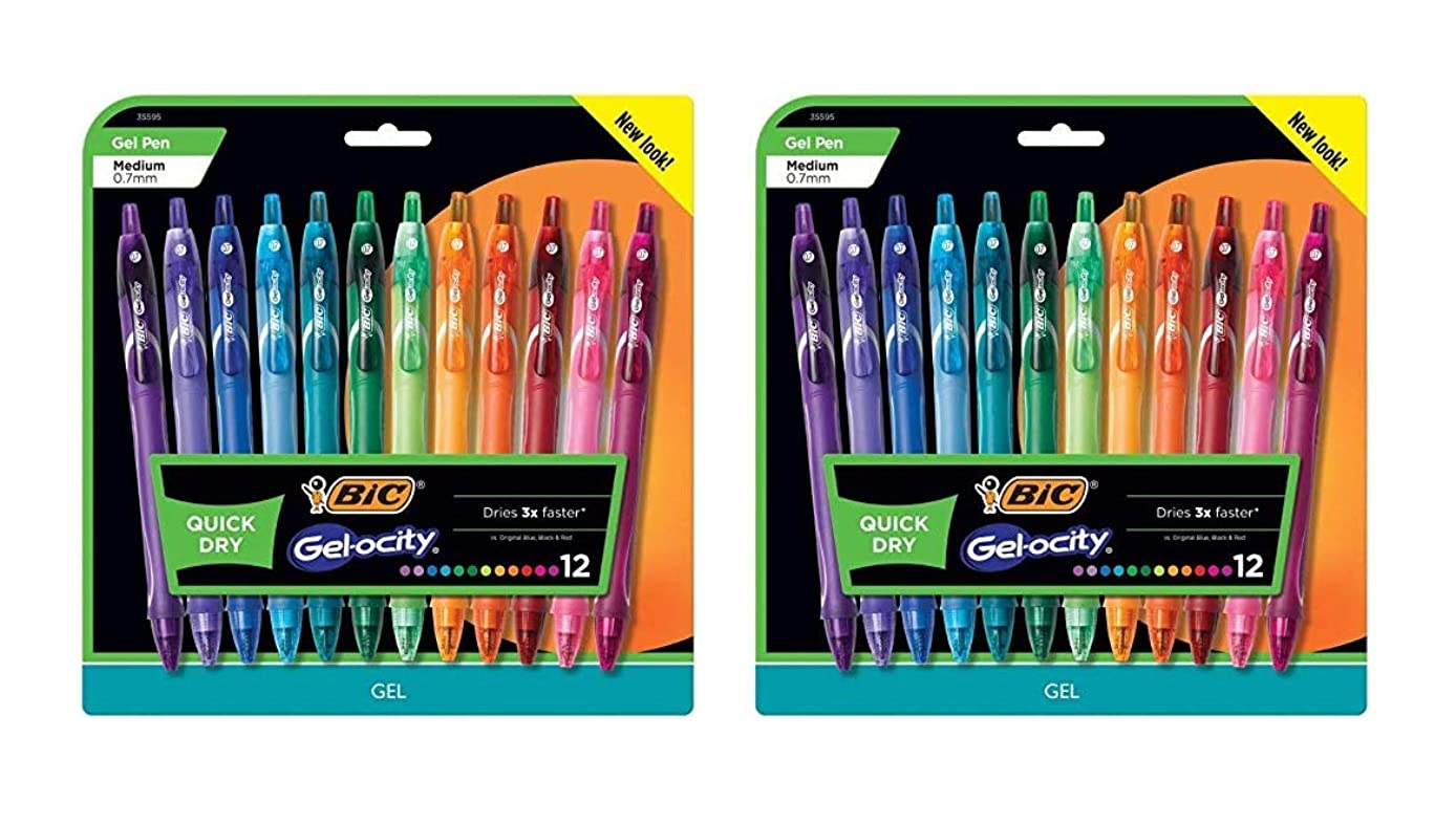 BIC Gelocity Quick Dry Retractable Fashion Gel Pen, Medium Point (0.7 mm), Assorted Colors, 24-Count (24)