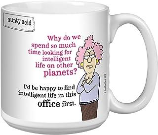 Tree-Free Greetings Extra Large 20-Ounce Ceramic Coffee Mug, Aunty Acid Intelligent Life