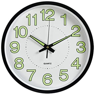 HOIBAI 12 inch Wall Clock Silent Non Ticking Battery Operated Large Round Modern Clocks Glow in The Dark,Luminous Wall Clock for Kids,Office,Living Room,Bedroom,Classroom,Kitchen