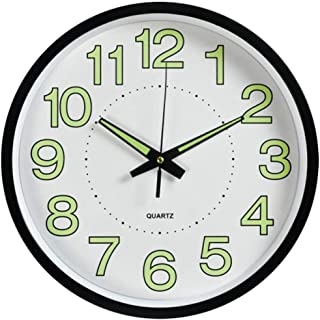 12-inch Modern Silent Wall Clock Battery Operated Non Ticking Digital Luminous Round Decorative Wall Clock, for Kitchen, Living Room, Bedroom, Bathroom, Office (Black, 12 inch)