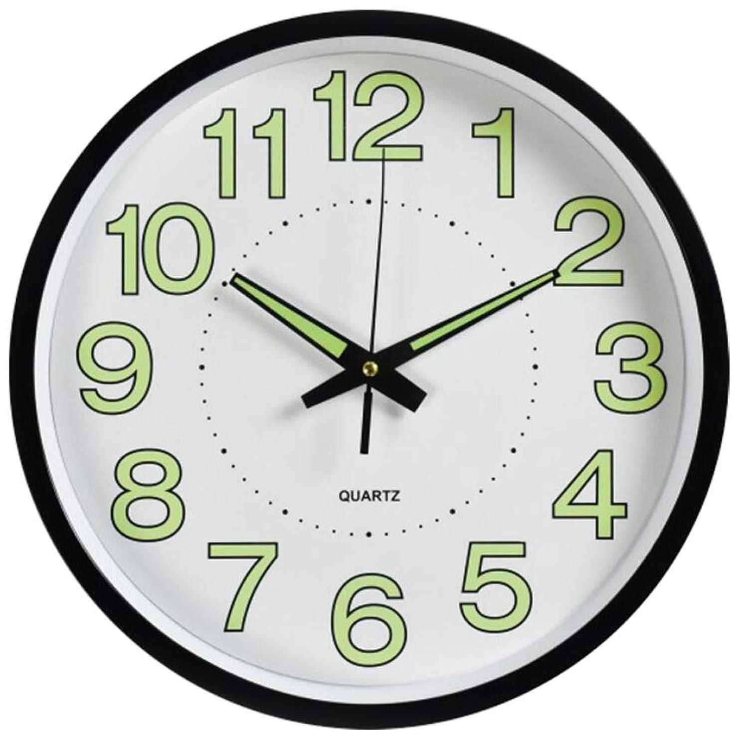兵器庫果てしない落花生Outpicker 壁掛け時計 夜光 発光 静音 連続秒針 ウォールクロック 掛け時計 プレゼント カフェ 部屋 (ブラック)