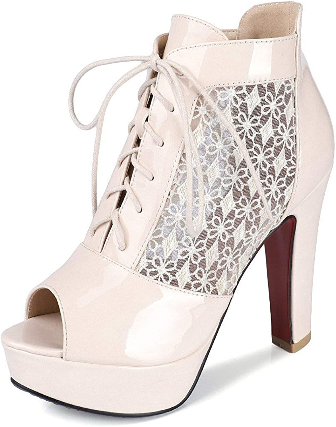 Unm Women's Lace up Sandals with Platform - Sexy Peep Toe Mesh High Heel - Burnished Chunky Summer Boot