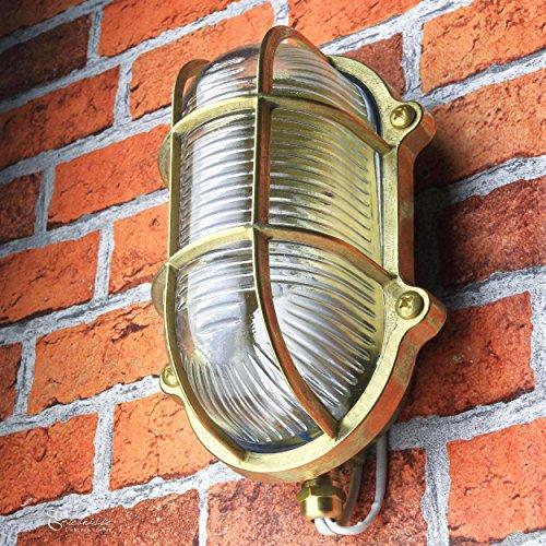 *Außenlampe Wand Maritim aus Messing Glasschirm Geriffelt Rustikal Rostfrei IP64 Wandleuchte Haus Balkon*