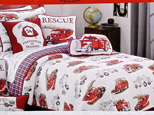 Red Fire Engines Fire Trucks 3 Piece Full Queen Quilt and Shams Set