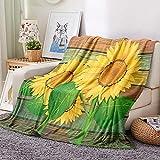 HKDGHTHJ Manta Sofa Verano 130 X 150 cm Girasol Hojas Verdes...