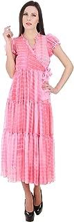 Devaleena Creations Pink Tie Dye- Georgette- Anarkali Tier Style for Ladies