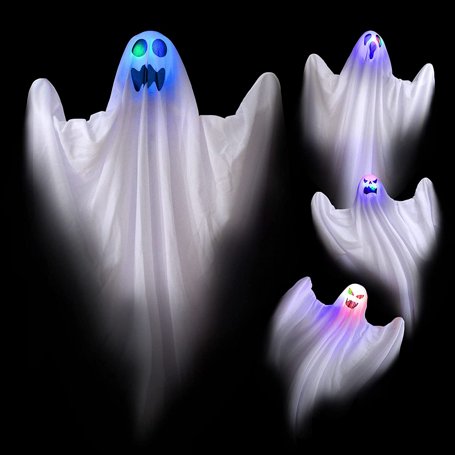 JPXH 4 Pack Light Up White Hanging Ghosts Outdoor Color Changing Ghost Halloween Decorations for Trees