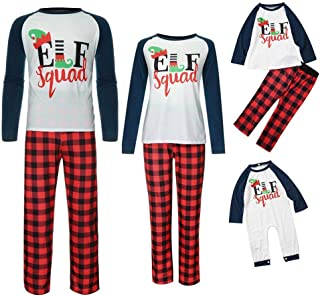 Pijamas Navidad Familia a Juego - Elf Tops y Pantalones de Cuadros | para Parejas Hombre y Mujer | Pijamas Dos Piezas para Niño y Bebe | Pijama en Familia de 3 o 4