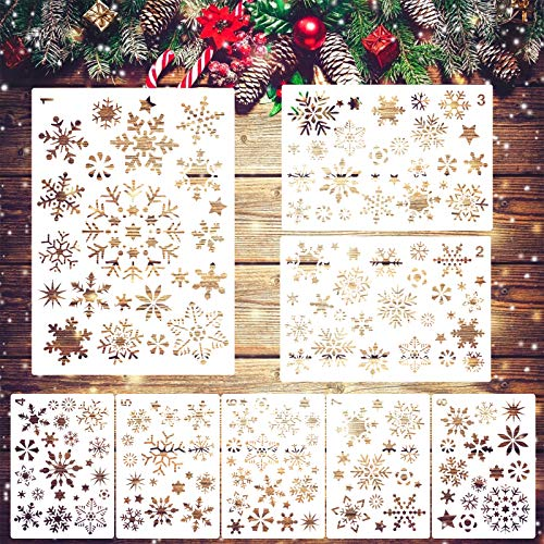 LANMOK - 8 plantillas de espray de copo de nieve, plantillas de dibujo grandes, plantilla de estampado, decoración...