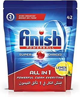 Finish Dishwasher Detergent Tablets, All in One Lemon, 42s
