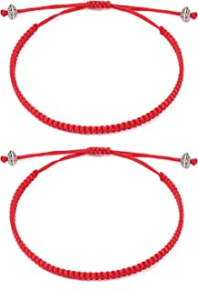 Seyaa Red String of Fate Bracelets Kabbalah Protection Good Luck Simple Matching Bracelets for Lover Women Men