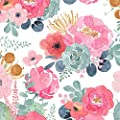 """HaokHome 93005-2 Floral Wallpaper Peel and Stick Watercolor Cactus White/Pink/Green/Navy Blue Vinyl Self Adhesive Prepasted Contact Paper Decorative 17.7""""x 9.8ft"""