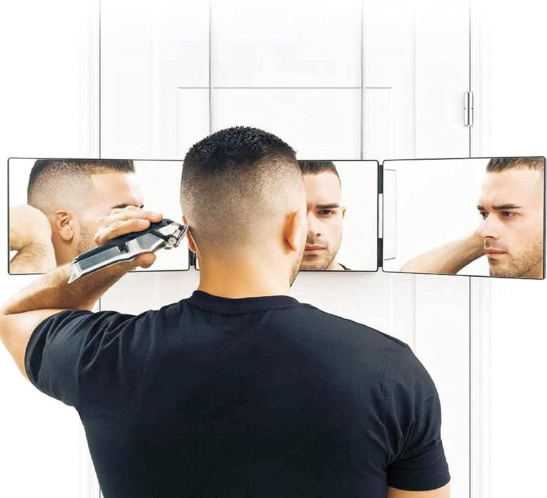 RYUNQ Espejo telescópico para Colgar de Maquillaje, Espejo de 3 vías para Cortar el Cabello, Portátil Espejo autocortado Espejo Plegable para Colgar para Teñido, Aseo, Espejo de Ducha