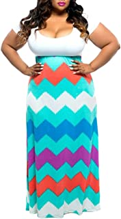 Pink Queen Women's Plus Size Summer Striped Chevron Empire Waist Casual Maxi Dress