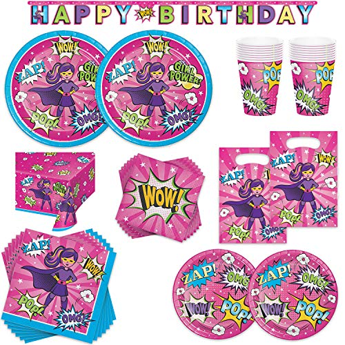 Superhero Girl Birthday Party Supplies Bundle - 16 Guest - Dinner Plates, Dessert Plates, Lunch Napkins, Beverage Napkins, Cups, Table Cover, Banner & Treat Sacks