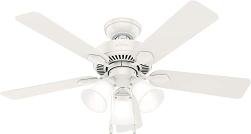 """2021 Hunter Swanson Indoor Ceiling Fan with online sale LED Lights lowest and Pull Chain Control, 44"""", Fresh White online sale"""