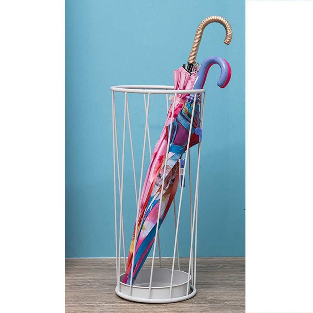 ドリップトレイ付きの金属製の傘立て、ホテルのロビーのホームクリエイティブな床置型の雨具/傘/杖のシンプルな収納ラック (Color : White)