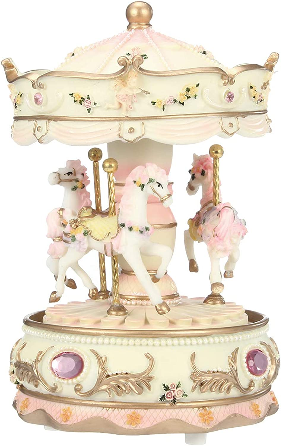 VIDOO 7 colors Led Flash Light Horse Classic MerryGoRound Carousel Music Box Birthday GiftHappy Birthday
