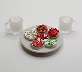 Plate of Christmas Cookies and 2 Cups of Milk Playset - Doll Food Drink for Fashion Dolls Like Barbie, Bratz, Ever After H...