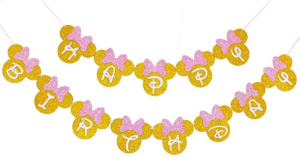 Minneapolis Mall Minnie Max 45% OFF Mouse Pink And Gold Banner Minni Happy Birthday Inspired