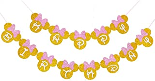 Minnie Mouse Pink And Gold Inspired Happy Birthday Banner, Minnie Birthday Party Decorations for Girls Birthday Themed Party Decoration