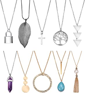 SUNNYOUTH 8-10 Pcs Long Pendant Necklace Layered Circle Bar Y Pendant Necklace Real Leaf Lock Chain Necklace for Women Girls