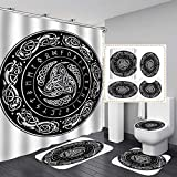 HJGTFG 4 Piece Shower Curtain Ouroboros Tattoo Design Sets with Non-Slip Rug Toilet Lid Cover Bath Mat 12 Hooks Waterproof